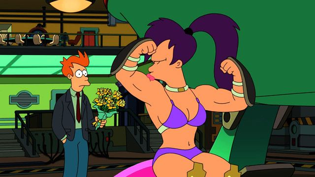 leela from futurama naked with a dick