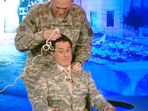 Colbert report shaved head