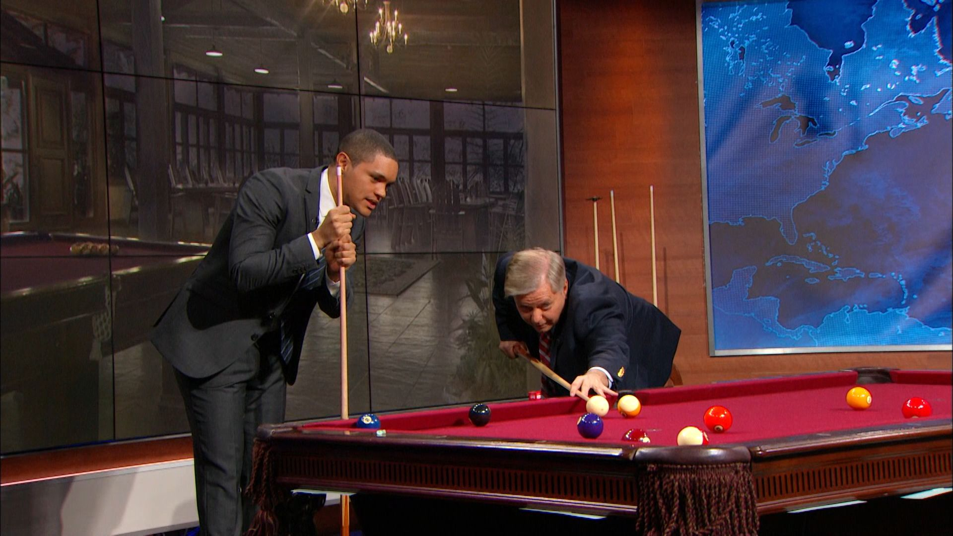 Shooting pool with lindsey graham the daily show with for Pool guy show