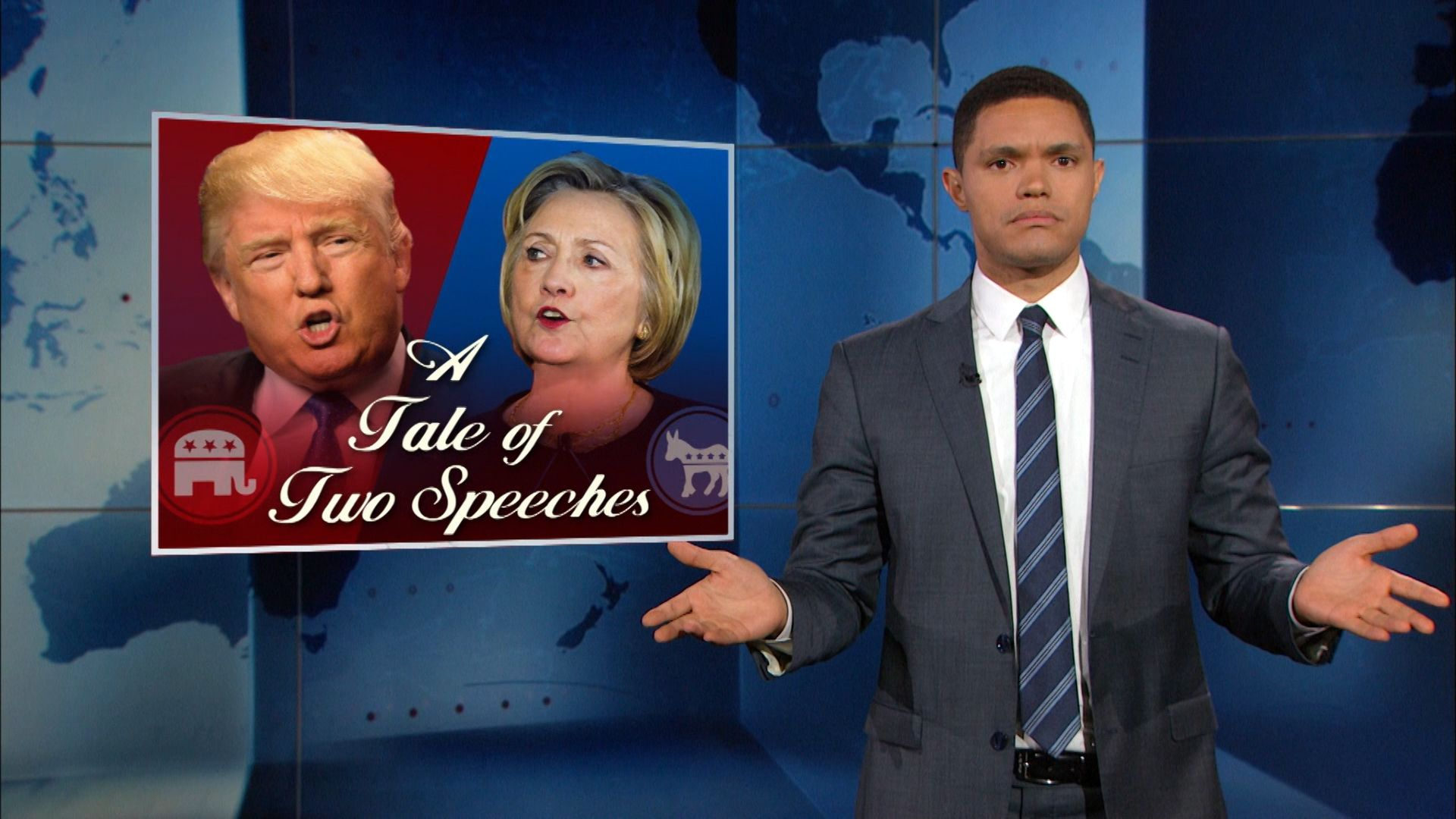 Hillary Clinton and Donald Trump React to the Orlando Shooting - The Daily Show with Trevor Noah (Video Clip)