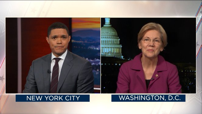 senator elizabeth warren reacts to being silenced - the daily show