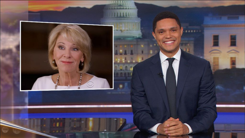 7b63bc94 'Daily Show' Host Trevor Noah: Betsy DeVos Accidentally Visiting a Bad  School Would Make for Hilarious 'Dangerous Minds' Sequel (Video)