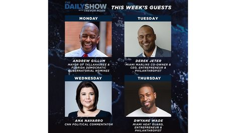 press – the daily show with trevor noah announces guest line-up for
